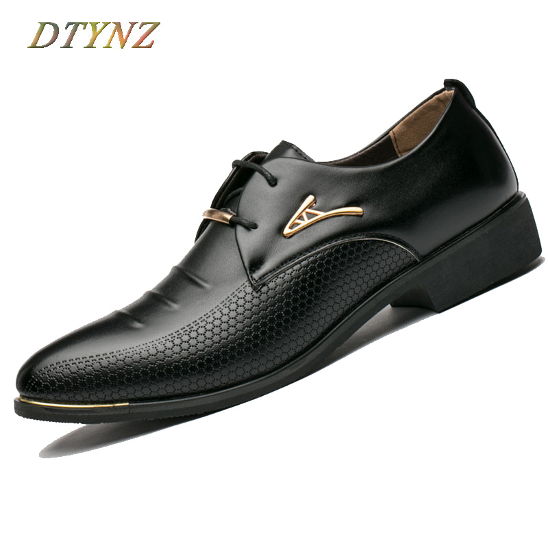 DTYNZ Men Dress Shoes Formal Leather Shoes For Men Business 2018 Office Lace-Up Flat Breathable Oxfords Pointed Toe Size 38-48