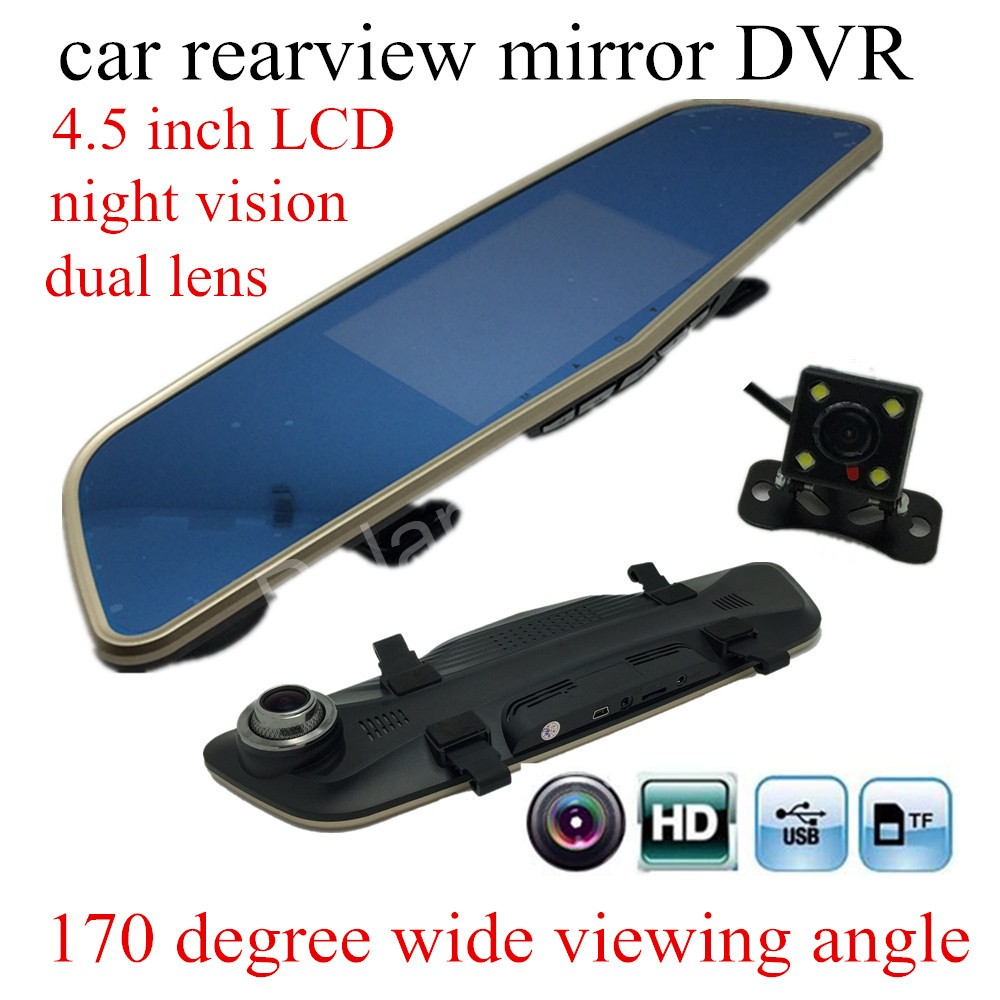 lower price 4.5 inch Car DVR Rearview Mirror Camera HD registrator Video Camera Dash Cam with two camera Recorder Black Box