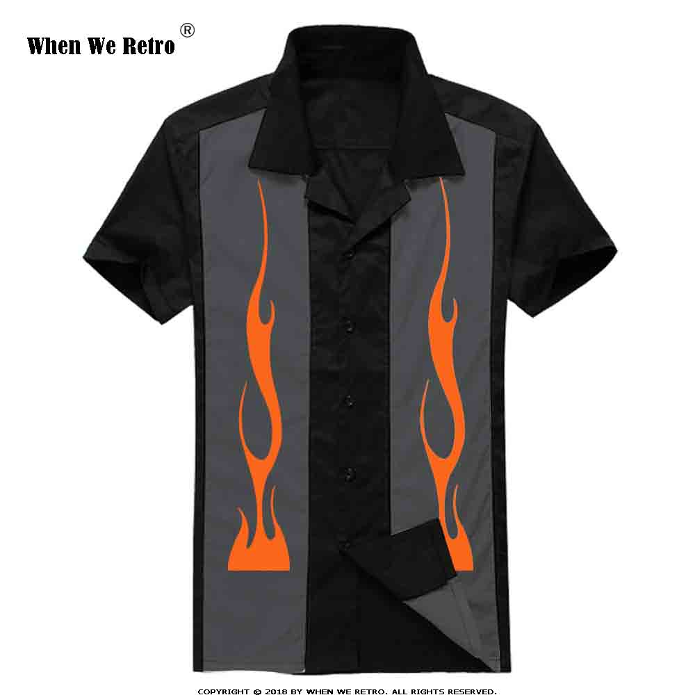 When We Retro Men Tops Short Sleeve Patchwork Flame Print Punk Hip-hop Vintage Black Men Shirt ST107 Chemise Homme Plus Size