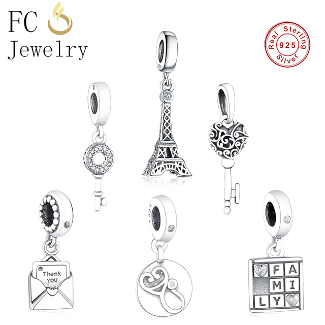 a736a6ac7 Key of Love/Floating Grains /Tower/Thanks Card Pendant Dangle Silver 925  Bead Fit Original Pandora Charm Bracelet Necklace Jewel