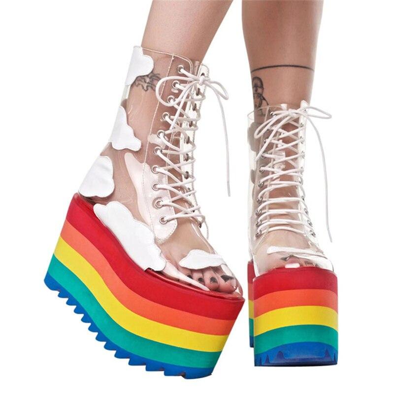 2019 Women Fashion Transparent Martin Boots PVC Transparent Boots Round Toe Women Shoes Boots Sneaker