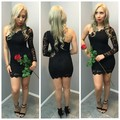 New Arrival One Shoulder Party Club Dresses Short Cute Cocktail Dresses Black Lace Sexy Prom Party Gowns