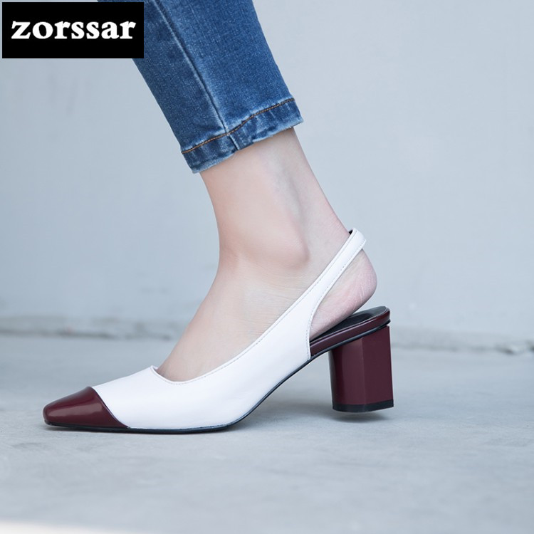 {Zorssar} 2018 Genuine Leather Women Sandals high heels Pointed toe shoes Summer Shoes Women Chunky High Heels Party Dress shoes summer 2016 nigerian shoes and matching bags pink leather high heels fringed peep toe sandals eur33 43 womens dress shoes chunky