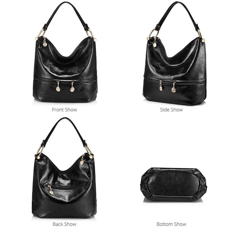 Mewah Handbags Tas Wanita Desain Kualitas Tinggi Wanita Tas Bahu PU Kulit Wanita Tas Besar Tas HOBO Zipper