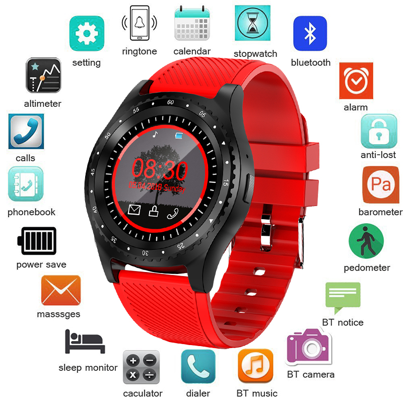 En este momento 2019 nuevo reloj inteligente de las mujeres de los hombres reloj de pulsera apoyo con cámara Bluetooth SIM TF tarjeta para teléfono Android reloj inteligente + caja