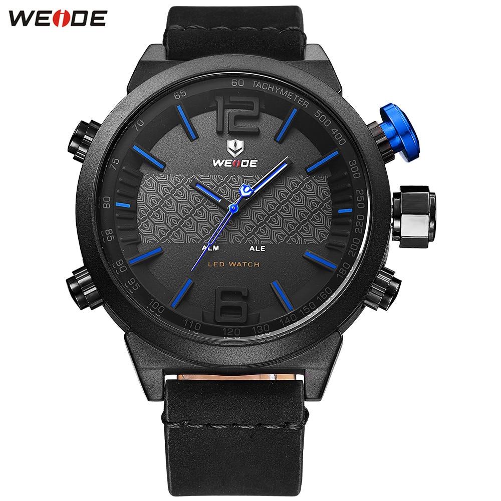 Hot Sale WEIDE Fashion Blue Dial Watch Men LED Digital Quartz Watch Leather Band Mens Analog Dress Wristwatch Montre Homme Gifts