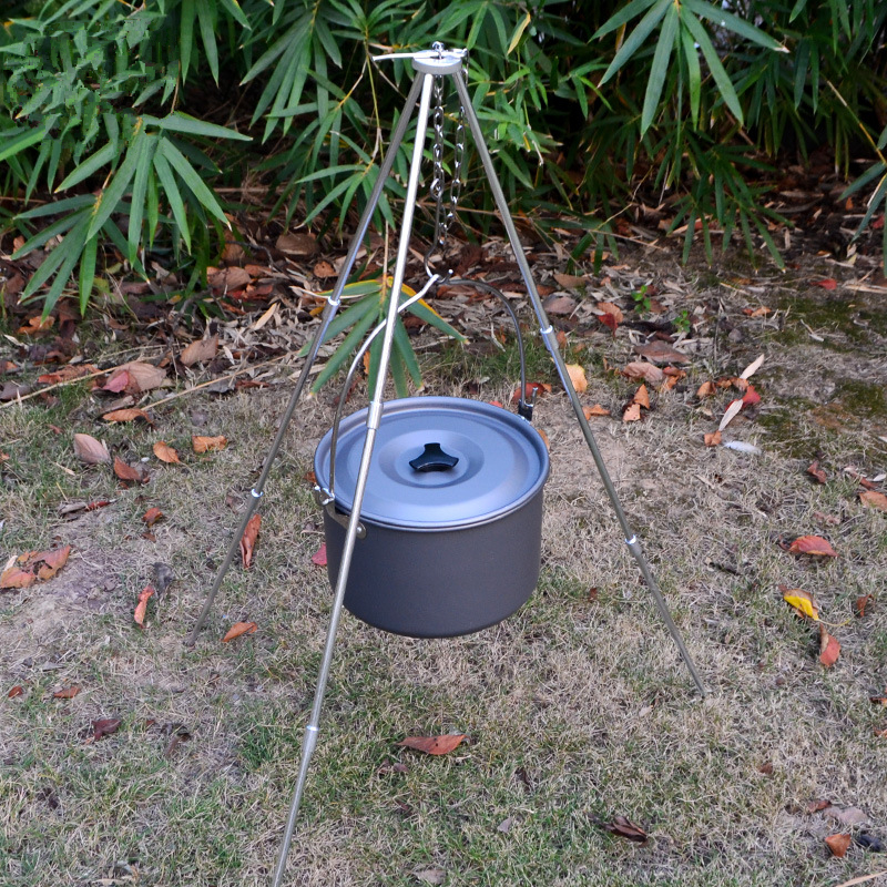 Image 3 - VILEAD Camping Picnic Tripod Hanging Pot Durable Portable Campfire Picnic Cast Iron Pot Grill Hanging Outdoor Cooking Tripod-in Camping Cookware from Sports & Entertainment