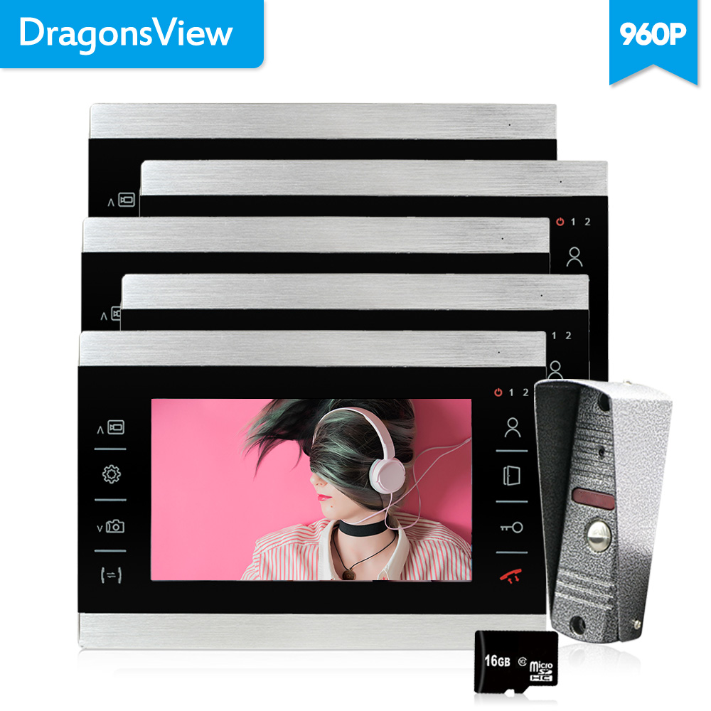 Dragonsview 7 Inch AHD Video Door Phone Intercom System 960P video call with Camera 5 Monitors 1 Outdoor Panel HD Unlock RecordDragonsview 7 Inch AHD Video Door Phone Intercom System 960P video call with Camera 5 Monitors 1 Outdoor Panel HD Unlock Record