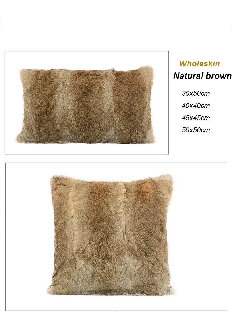 Rabbit fur pillow case detail 1
