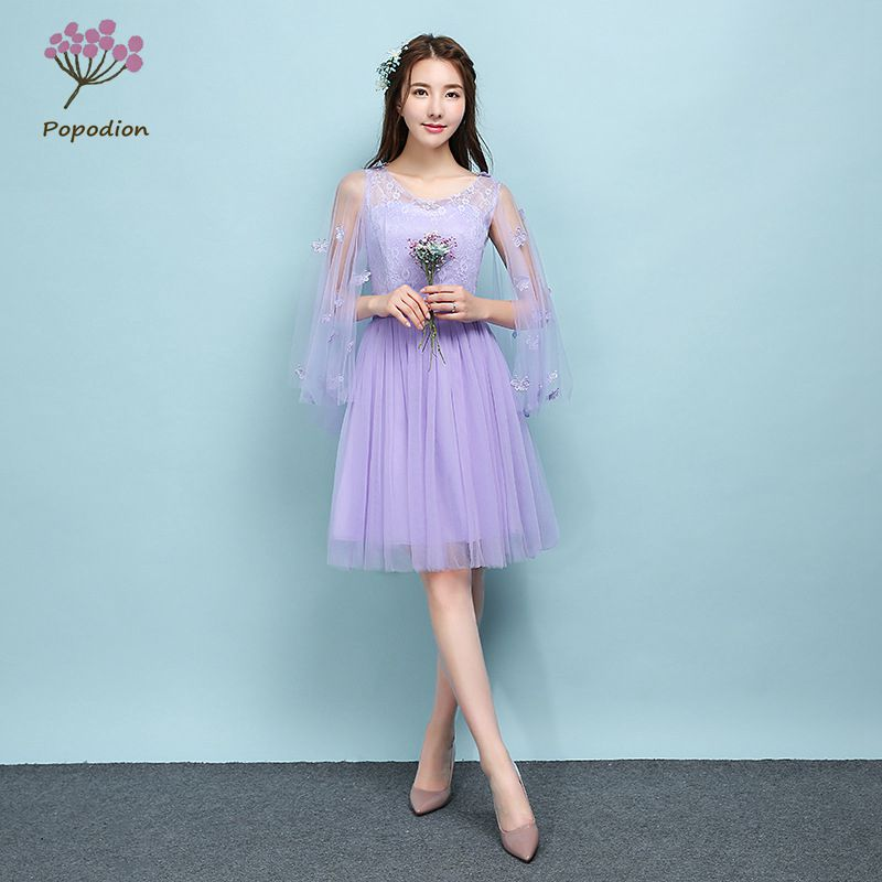 2018 Popodion violet bridesmaid dresses sister wedding party dress bridesmaids dresses for women ROM80119