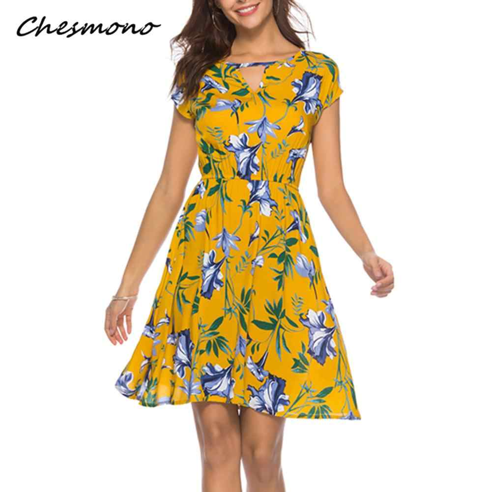 1b0432c9f8a Summer O Neck Women Mini Dress Floral Print Short Sleeve Dresses Party Vestido  2018 Elastic Waist