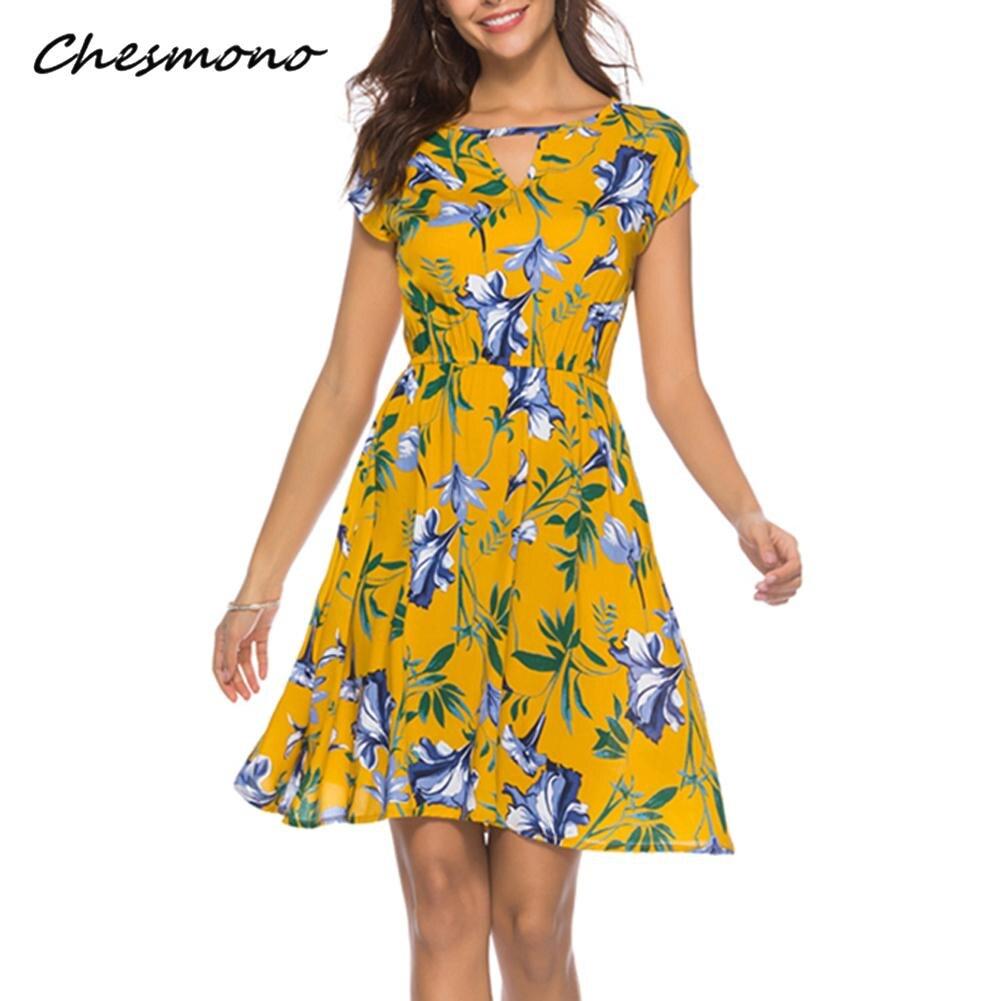 38115b5b29 Detail Feedback Questions about Summer O Neck Women Mini Dress Floral Print  Short Sleeve Dresses Party Vestido 2018 Elastic Waist Vintage Beach  Sundress ...