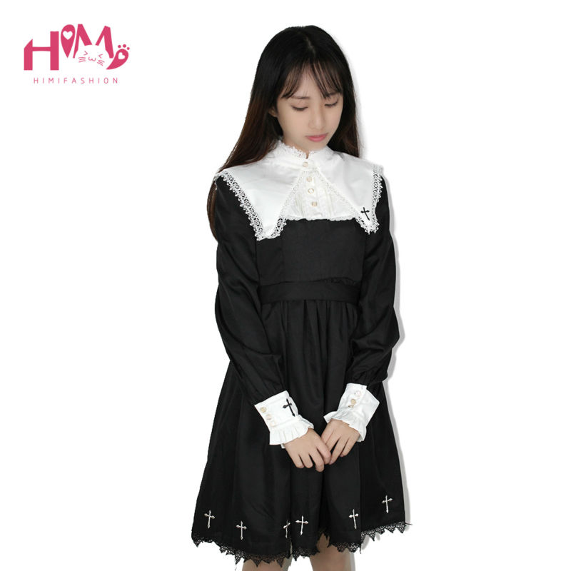 2018 Japanese Harajuku Black Lolita Female Vintage Dresses For Cute Girl Gothic Embroidery Cross-Shaped Women Long Sleeve Dress