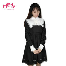 2019 Japanese Harajuku Black Lolita Female Vintage Dresses For Cute Girl Gothic Cosplay Cross-Shaped Women Long Sleeve Dress