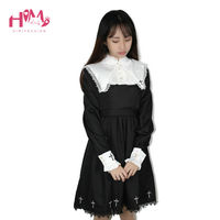 Japanese Harajuku Black Lolita Female Vintage Dresses For Cute Girl Hot Sell Embroidery Cross Shaped Women