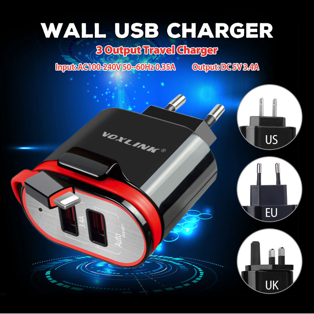 VOXLINK 5V 3.4A Dual Ports USB AC Wall Travel Power Charger Adapter EU US UK Plug Smart Mobile Phone Charger for iPhone Samsung