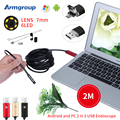 Armgroup 7MM Mini Micro USB Endoscope Camera 2M OTG Android Phone Endoscope Mini Camera Inspection Borescope Tube Snake Camera