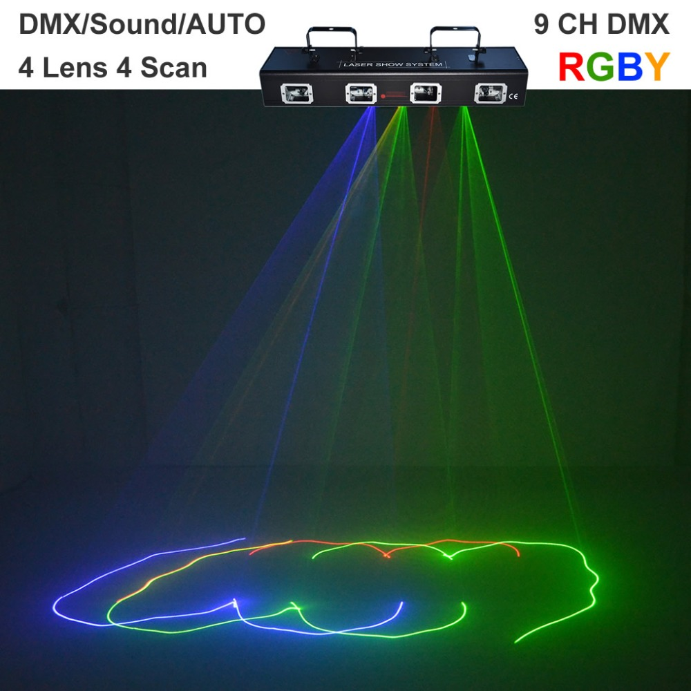 AUCD 4 Lens RGBY Red Green Blue Yellow Laser Diode 9 CH DMX 512 Scanner Lights PRO DJ Disco Stage Lighting DJ-505RGBY