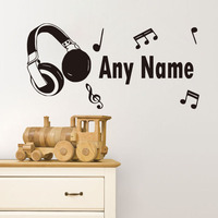 Personalized Name Wall Stickers Home Decor Headphone Musical Notes Decals Wall Murals Removable Vinyl Bedroom Decoration