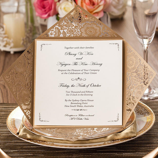 10sets Design Rustic Gold Wedding Invitations Laser Cut Invitation Cards With Insert Paper Blank Card Envelope