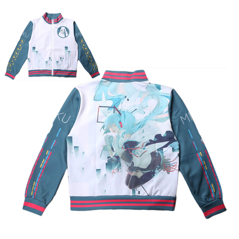 Careful Vocaloid Hatsune Miku Jacket Cosplay Costume Men Women Casual Zipper Sweatshirt Hoodie Spring Autumn Fashion Sportswear