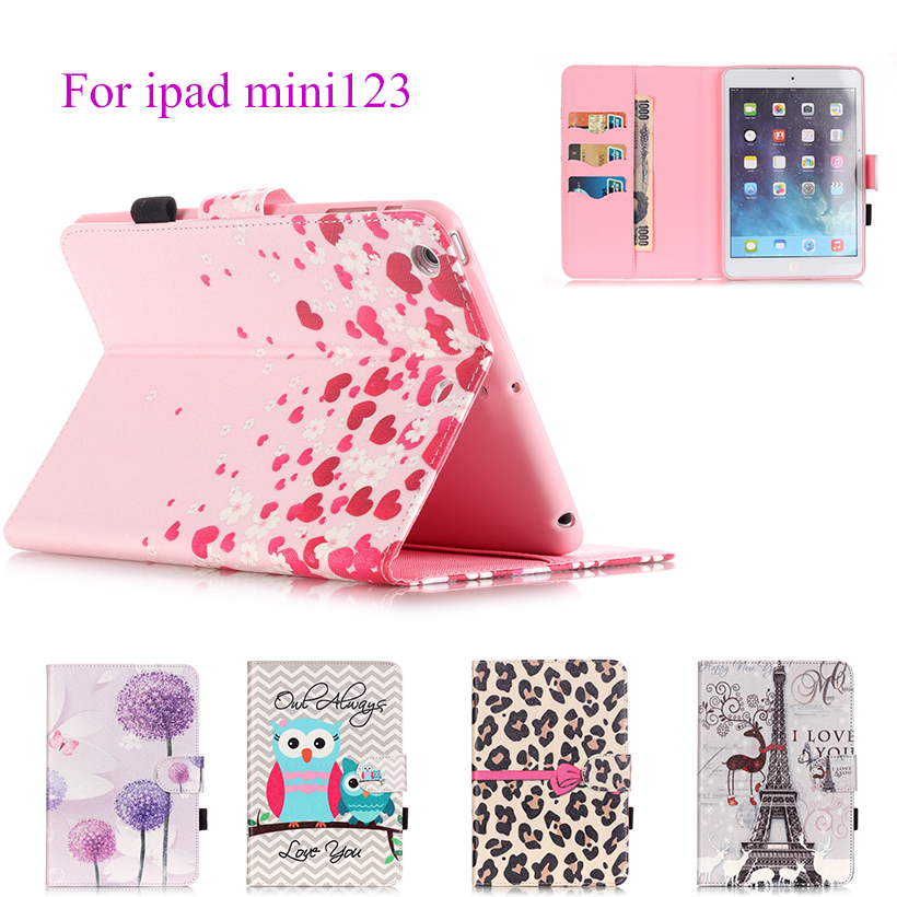 Fashion Painted Flip PU Leather Case For Apple iPad Mini 1 2 3 Cover Cases Magnetic Card Slots wallet Protective Shell Capa Skin leopard pattern protective pu leather plastic flip open case w stand card slots for samsung s5