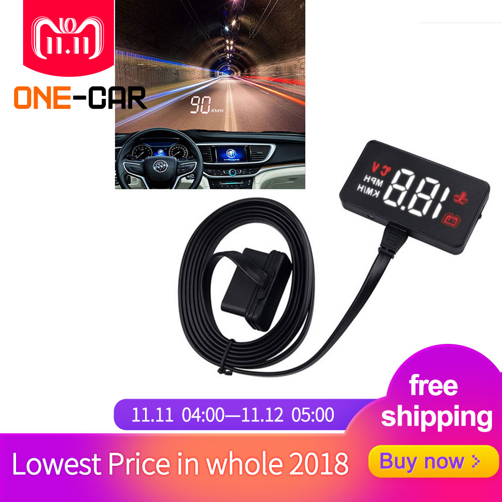 GEYIREN A100 Car HUD Head Up Display OBD2 II EUOBD Overspeed Warning System Projector Windshield Auto Electronic Voltage Alarm 4f car obd2 ii manual switch hud km h mph overspeed warning windshield projector alarm system head up display