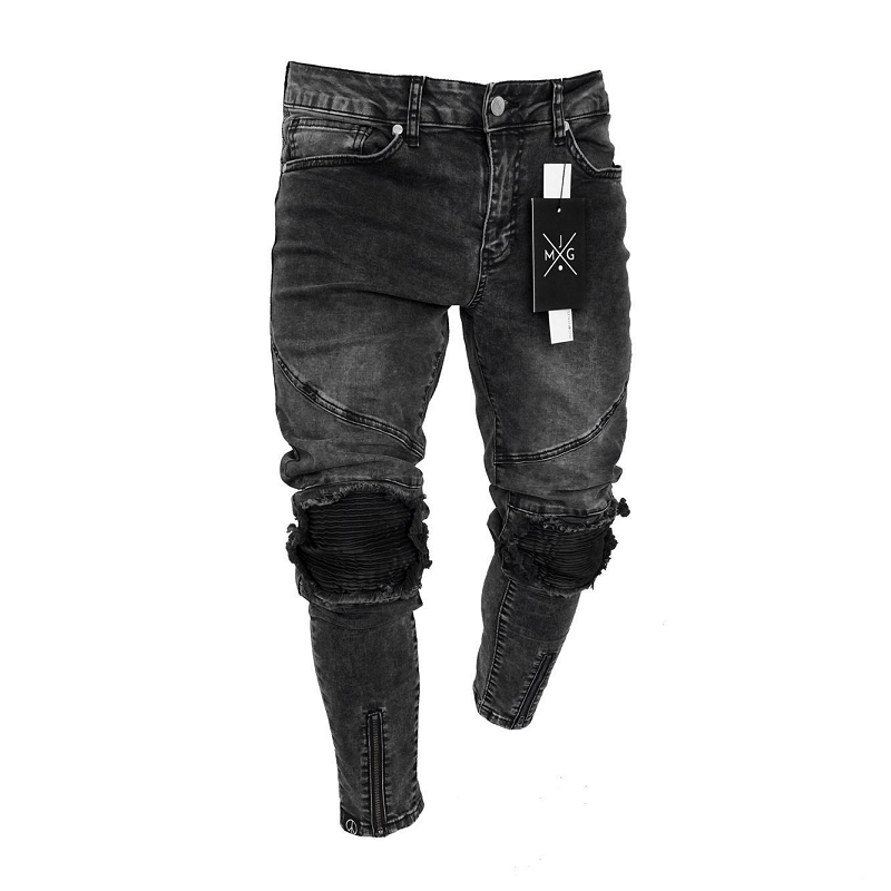 2019 Fashion Mens Black   Jeans   Streetwear Distressed Denim Pants Cotton Vintage HipHop Trousers HipHop   Jeans