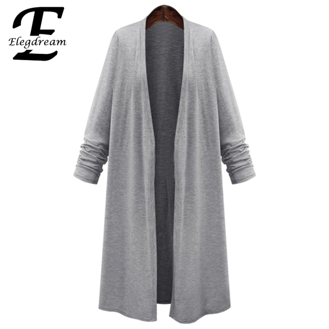 2016 Spring Ladies Long Cardigan Grey Black Long Sleeve High Quality Elegant Blouse Plus Size 4XL 5XL 6XL Woman Summer Tops New