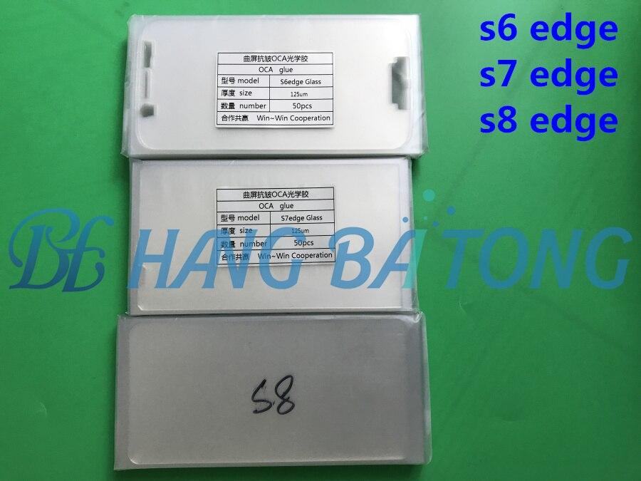 bilder für 50 stücke 125um Optischen Klebstoff Klar OCA Kleber für Samsung Galaxy S6 rand G925 S7 rand G935 s8 rand + plus LCD Touch Glaslinse Film