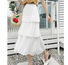 newest Sweet Spring Summer  Ruffles Skirts Long Black Women 2019 Layers Cake Tulle Skirt For Beach