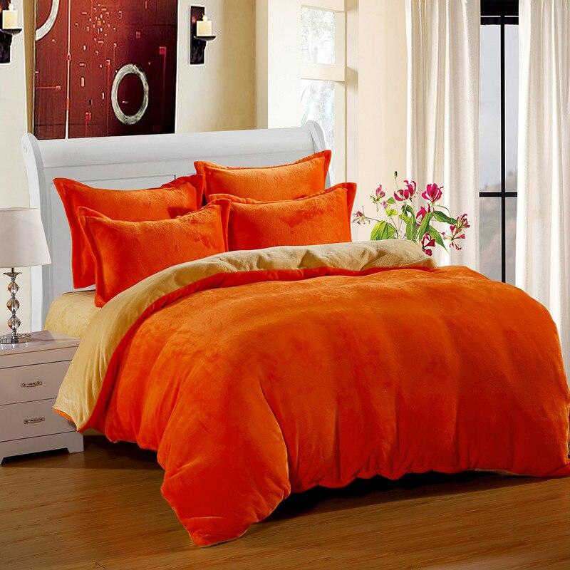 contrast color flannel duvet cover set bedspread bedding solid color bed linen for 2m bed. Black Bedroom Furniture Sets. Home Design Ideas