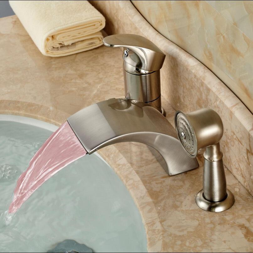 Роскошный Свет Широкое Водопад ванной смесители Deck Mount 3 шт. Ванная комната кран краны щеткой Никель
