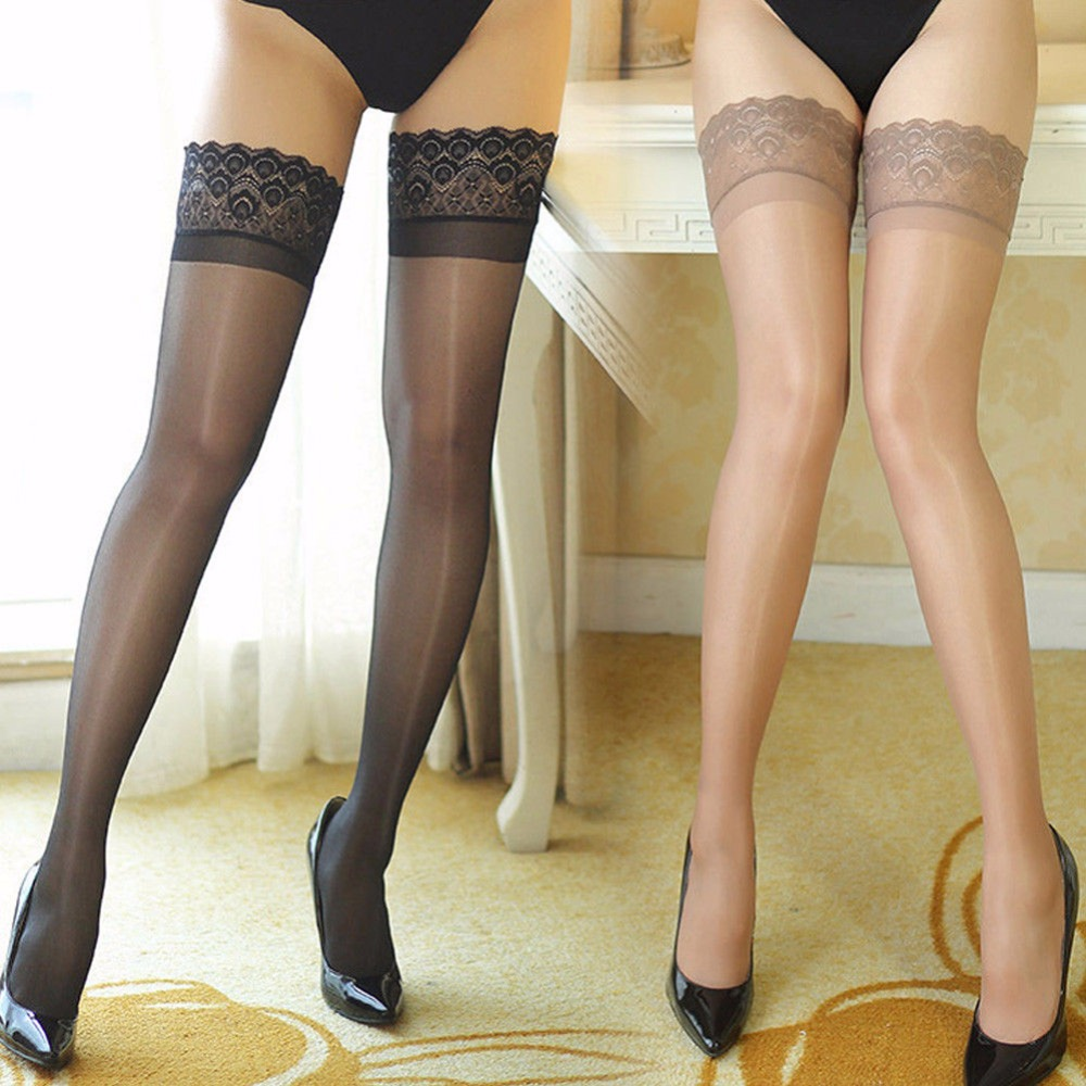 Sexy Women Lace Elastic Transparent Stocking Women Ultra Slim Shiny Sheer Lace Top Thigh-Highs Silk Skinny Stockings Hold Ups