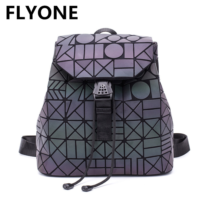 Hologram Laser Women Backpack Sequins Luminous Women Backpack Mini Geometric Female Shoulder Bag School Bags For Teenage Girls tegaote new design women backpack bags fashion mini bag with monkey chain nylon school bag for teenage girls women shoulder bags