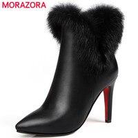 Morazora大きなサイズ34-43アンクルブーツpuソフトレザー薄いかかとの靴ファッションブーツ秋冬ウサギの毛パーティー