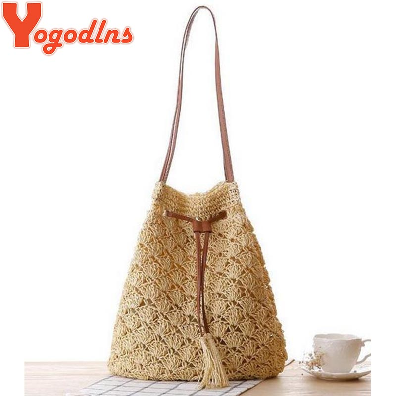 2017 New Women Summer Beach Bag Bohemia Straw Bucket Casual Bags for Women  Shoulder Bag Big Bag