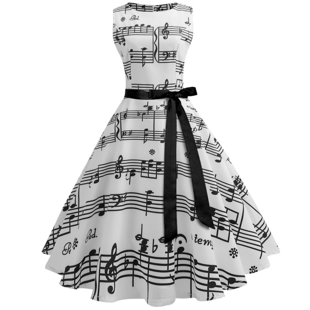 Women's supply hot cute white dresses section retro notes printing elements tie waist dress