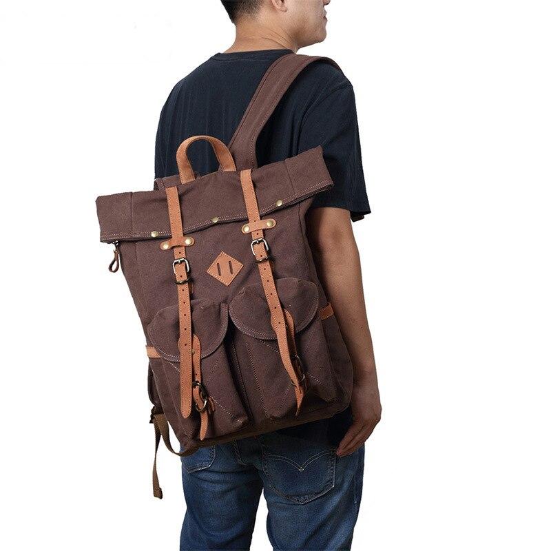 Vintage Travel Bags Men Women Genuine Leather Backpack Shoulder Bag