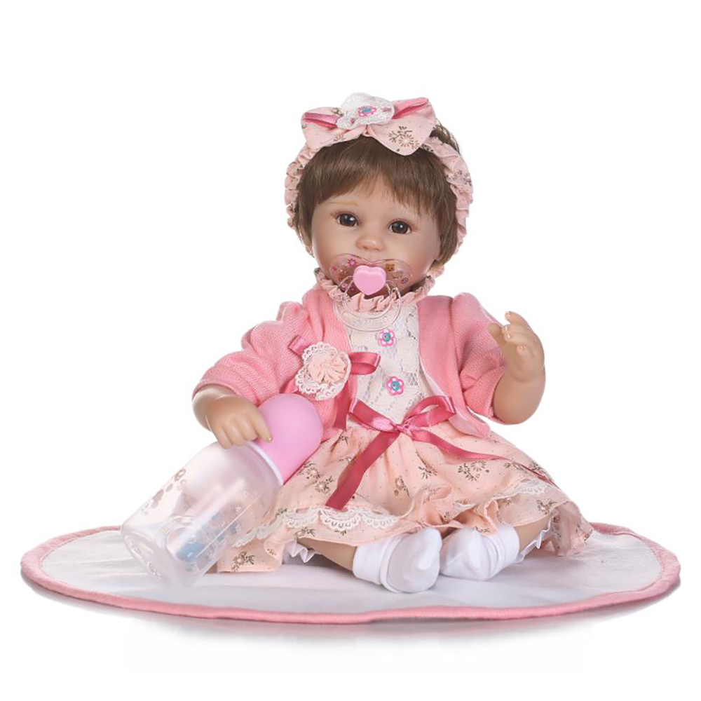 NPK 16inch bebe realista menina baby girl doll Cute pink princess style with Bow knot hoop silicone baby reborn doll Kids Toys