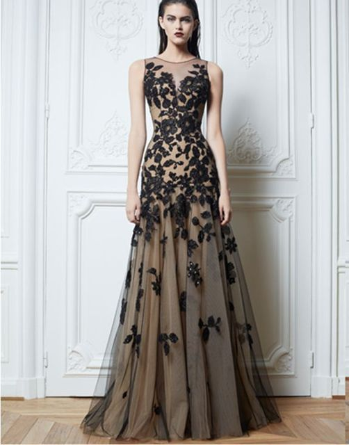 0a385426c7 free shipping 2013 new design hot seller Long Black handmade Applique  Evening Formal Prom Party Cocktail Dresses Wedding Gown