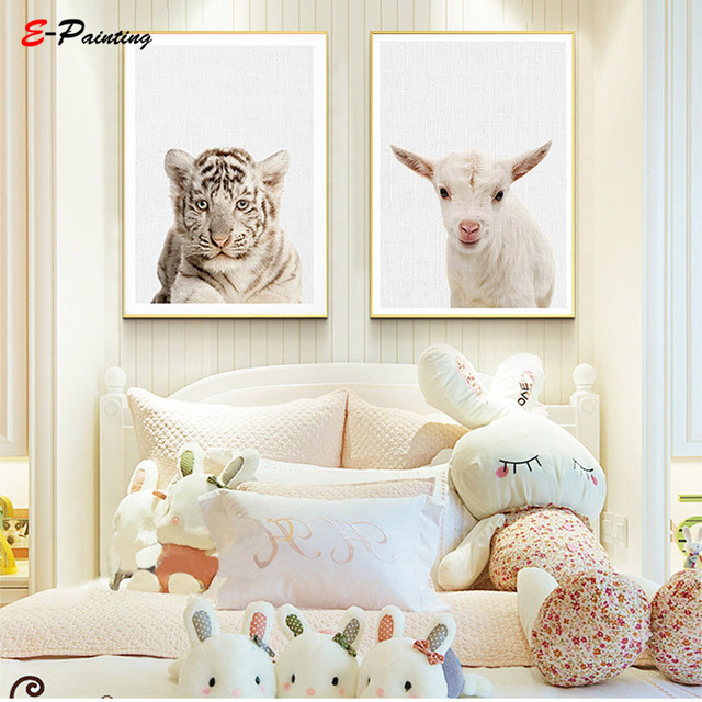 Modern Canvas Wall Art Tiger Print Animal Nursery Decor Baby Boys Room Poster Decoration Cute Bedroom Picture