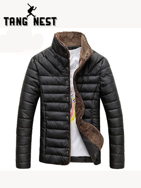 TANGNEST 2019 Men Winter Jacket Warm Casual All-match Single Breasted Solid Men Coat Popular Coat Two Colors Size M-3XL MWM432