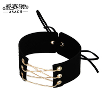 ASACH 5 Colors Vintage Harajuku Wide Black Velvet Choker Necklaces For Women Girls Punk Lace-up Chokers Chocker Jewellry collier