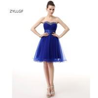 ZYLLGF Royal Blue Prom Dress Designer Short Prom Party Dress Sequins Beaded Junior High Graduation Dresses