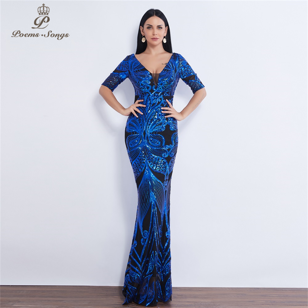 Half sleeve Butterfly style Sequin   Evening     dress   vestido de festa formal mermaid vestido de noche robe de soiree prom   dress
