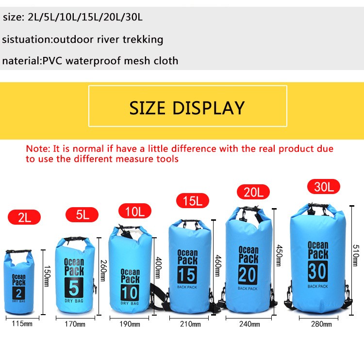 Topdudes.com - Waterproof Dry Bag Pouch for Camping Boating Kayaking Rafting Canoeing 2L/5L/10L/15L/20L