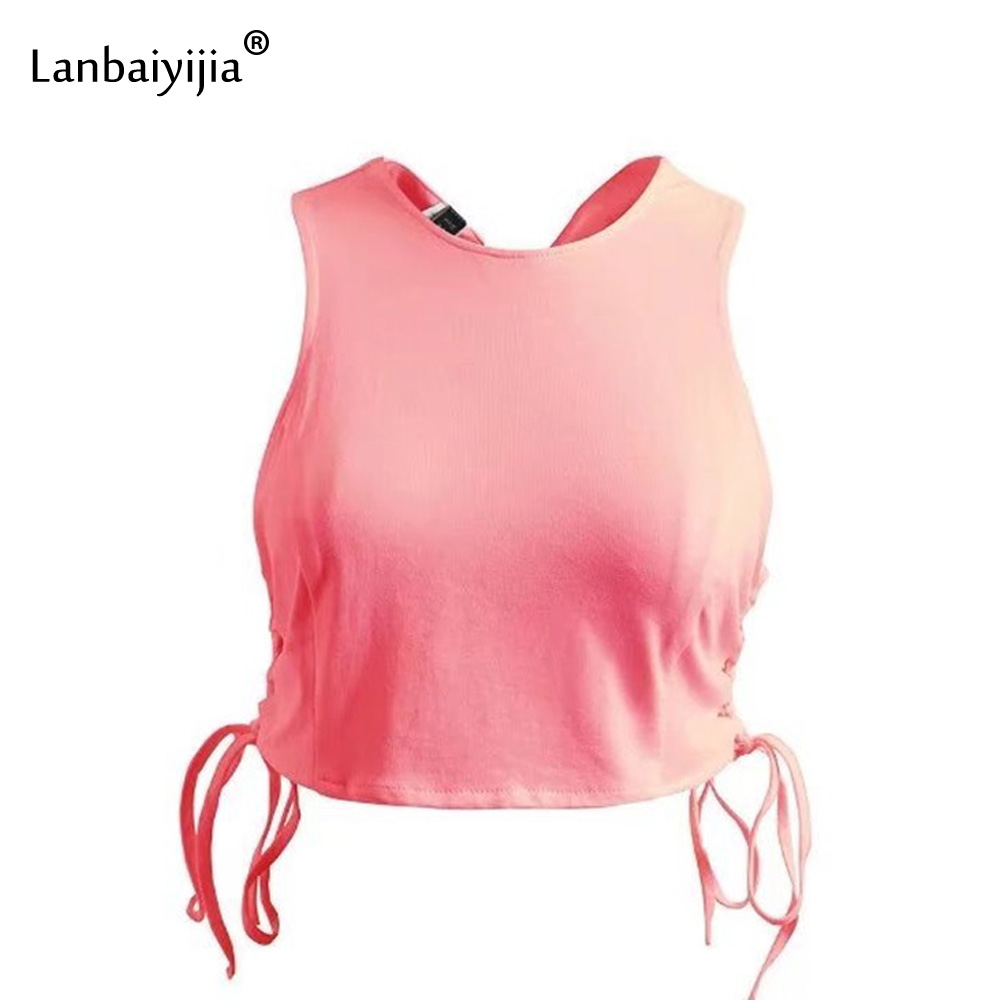 Lanbaiyijia Europe America Top Hot Solid back intersect Tank Tops Women tops side Lace-up Summer Vest Women O-neck Top 3 colors