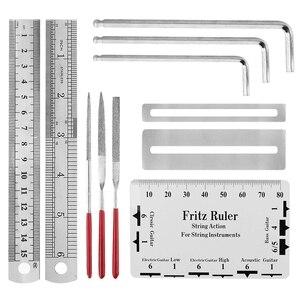 Image 4 - Herramientas de reparación de guitarra 20 piezas herramienta para guitarra con organizador de cuerdas cortadores de cuerdas regla de acción calibre dedo Gua