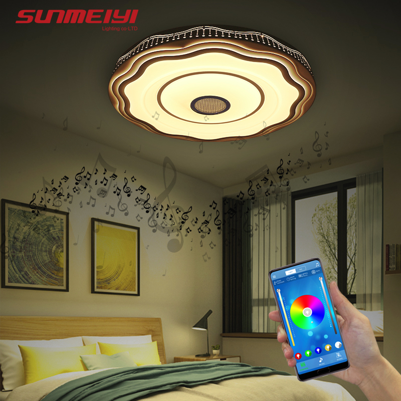Bluetooth Speaker LED Ceiling Lights Modern Dining room Lamp with Remote control Indoor Lighting For Kitchen Bedroom Living room in Ceiling Lights from Lights Lighting